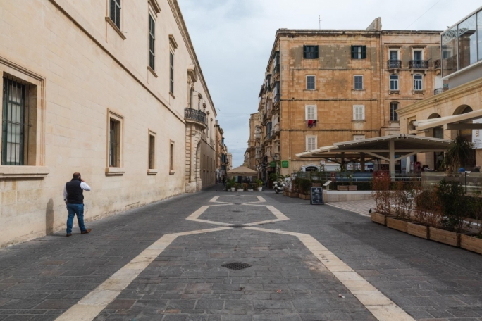 Valletta's Merchant Street: Usually busy with diners, the chairs and tables are now empty