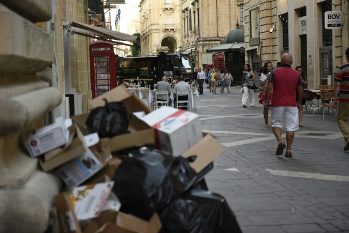 Garbage in Valletta's Republic Street (Photo: Chris Mangion)
