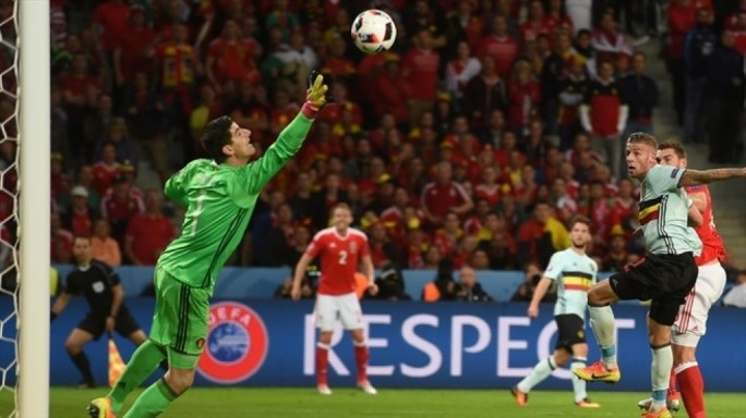 Sam Vokes of Wales scoring their third goal during their UEFA EURO 2016 quarter final match against Belgium