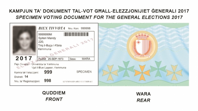 A specimen of the new voting document format