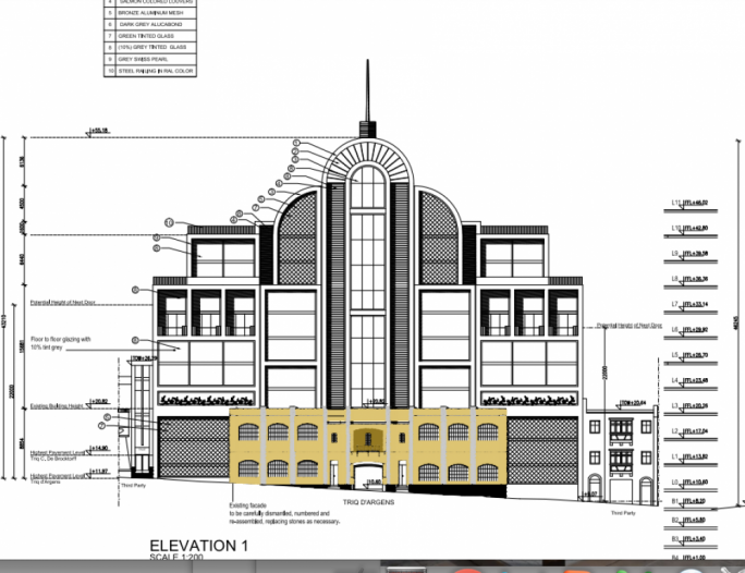 Front elevation of how the new Wembley development will look, with the old building facade being retained.