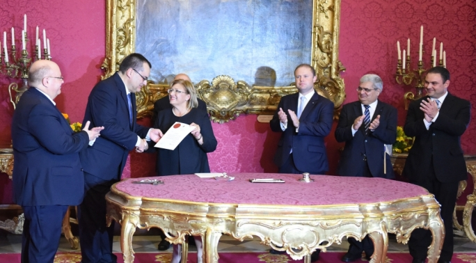 President of the Republic, Marie Louise Coleiro Preca, appointing Lawrence Mintoff as judge. Photo Ray Attard
