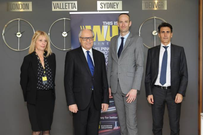(Left to right) Western Union country manager Jenny Pace, Finance Minister Edward Scicluna, WU Vice President Europe Frederic Simon and Director Southern Europe Christian Traversini