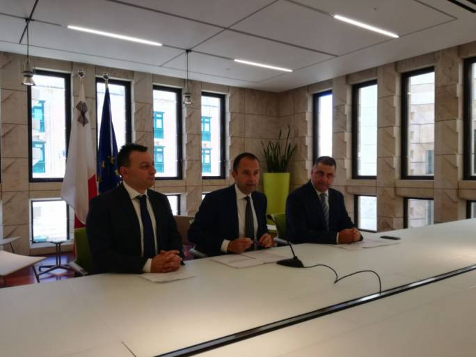 PN MPs Ivan Bartolo and Claudio Grech with then Opposition spokesperson on social affairs Robert Cutajar