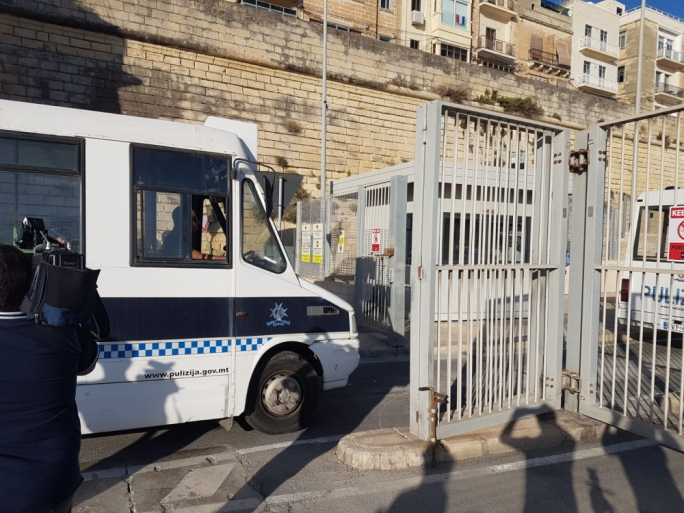 Four police vans were seen entering Boiler Wharf. (Photo: Massimo Costa/MediaToday)