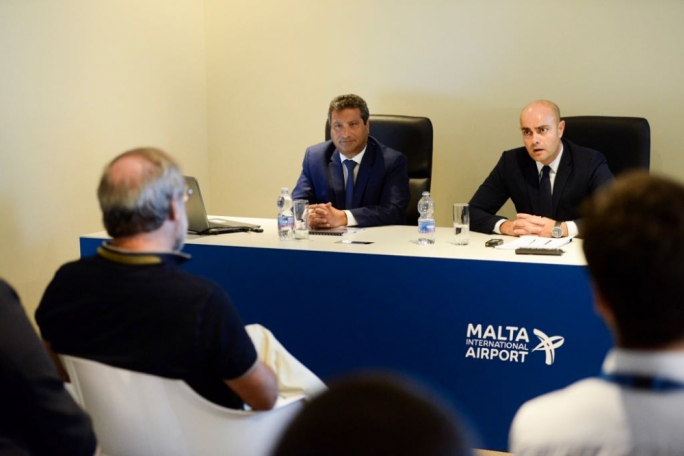 Malta Tourism Authority executive chairman Gavin Gulia (right) and Malta Airport's CEO Alan Borg
