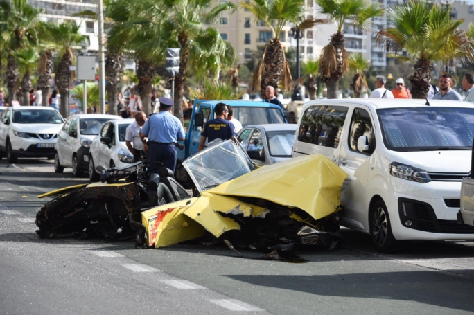 A car appears to have been severely damaged after colliding with a central strip in Gzira (Photo: James Bianchi/MediaToday)