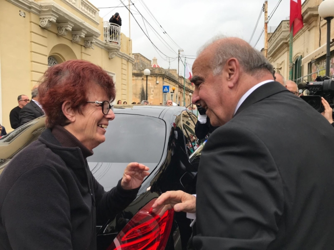 President-elect George Vella was greeted by numerous Zejtun residents