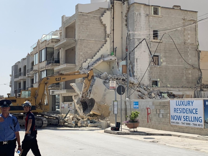 The four-storey building collapsed in Mellieha's Main Street (Photo: Karl Azzopardi/MediaToday)