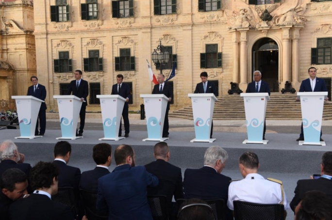 The leaders of the seven Mediterranean countries which met in the sixth Southern EU Summit in Malta addressed the press outside Castille. (Photo: James Bianchi/MediaToday)