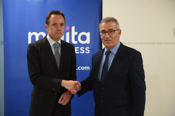 Melita CEO Harald Roesch (left) and Education Minister Evarist Bartolo. (Photo: James Bianchi/MediaToday)