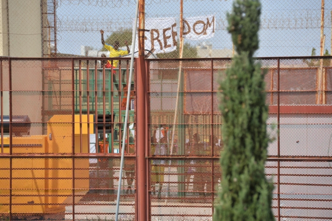 Migrants held in detention at the Safi centre have protested for their freedom
