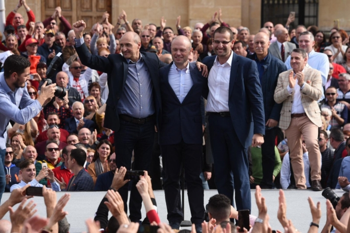 Prime Minister Joseph Muscat (centre) with his two possible successors, Deputy Prime Minister Chris Fearne (left) and Labour MP Robert Abela (Photo: James Bianchi/MediaToday)