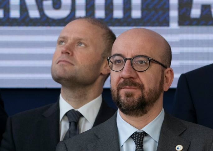 Repubblika has written to European Council President Charles Michel (pictured here with Joseph Muscat) to let Muscat know he is not welcome at the next Council meeting