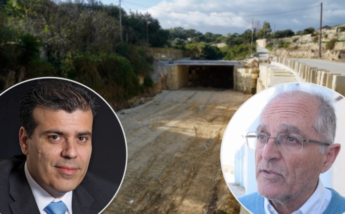 Arnold Cassola (right) has filed a criminal complaint asking the police to investigate roads agency CEO Frederick Azzopardi over environmental breaches in Wied Qirda works