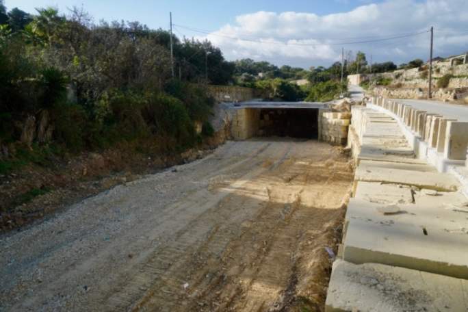 The newly-constructed bridge at Wied Qirda replaced a dam, which ERA said had been obstructing the valley's natural water course