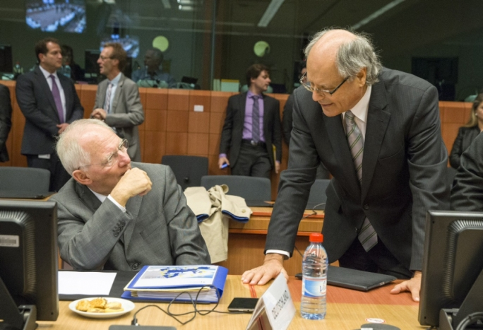 Finance ministers Wolfgang Schauble, of Germany, and Edward Scicluna