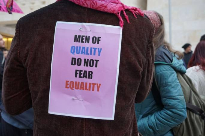 A message for men at the Women's Day march