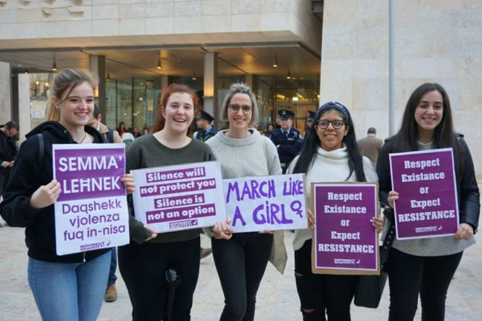 International Women's Day is marked with a demonstration in Valletta