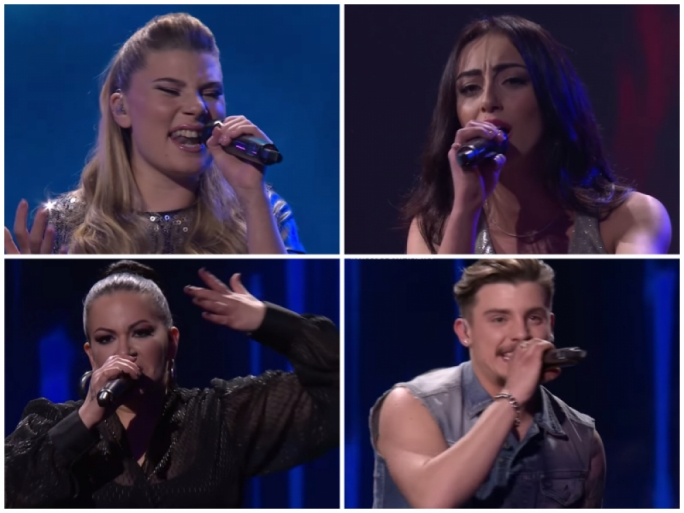 The X Factor Malta finalists: Michela Pace (top left), Petra (bottom left), Nicole Frendo (top right), Owen Leuellen