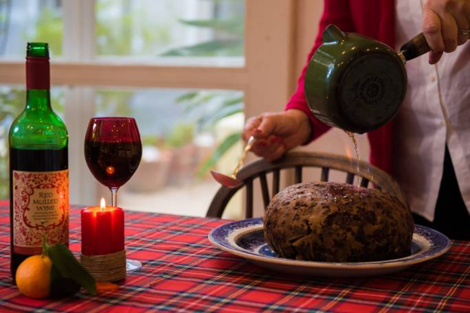 Christmas Pudding On Fire.Traditional Christmas Pudding