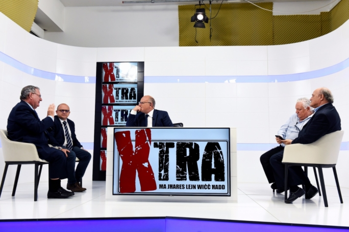 Journalists Laurence Grech, Jes Saliba, Peppi Azzopardi and Godfrey Grima on Xtra. Photo: James Bianchi