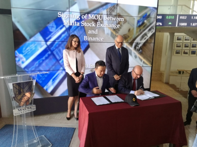 The agreement was signed by Malta Stock Exchange chairman Joe Portelli and Binance chief financial officer Wei Zhou