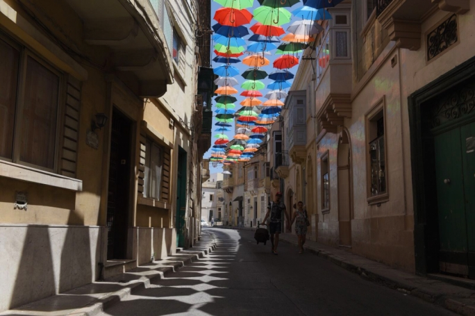 Umbrellas in preparation for the festival