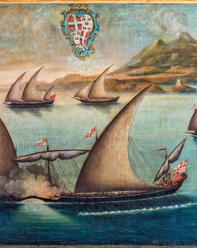 Detail of naval engagement of Captain Zelalich defeating a Tunisian corsair whilst captaining the Grandmaster's Galleot in 1765 (Anonymous, Maltese, c.1765, Oil on Canvas, Verdala Palace)