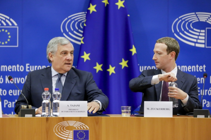 EP president Antonio Tajani and Facebook founder Mark Zuckerberg
